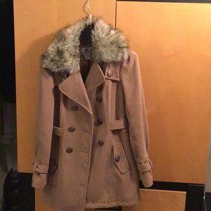 Faux Fur removable collar mid length pea coat